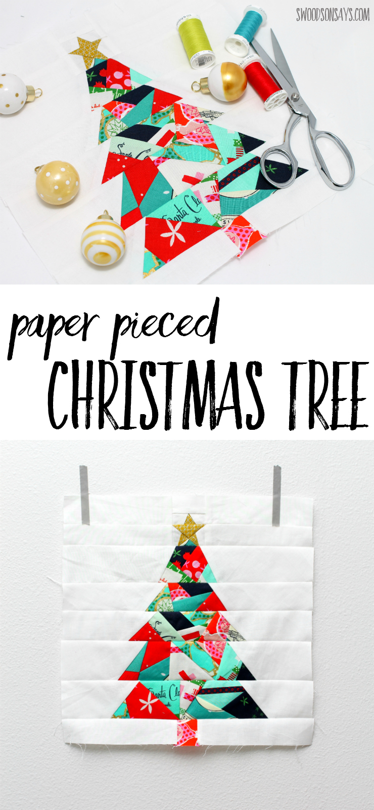Check out this paper pieced Christmas tree! A modern Christmas quilt sewing pattern, it's a great first paper piecing pattern to try and uses up the smallest of scraps. Great for: christmas gifts to sew - christmas quilts - christmas paper piecing patterns - Christmas trees to sew.