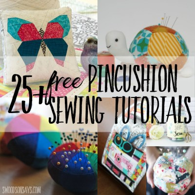 A big round up of free pincushion sewing patterns and tutorials! Perfect fabric scrap projects and handmade gifts to sew - use a free pincushion pattern to sew something up quickly! #pincushion