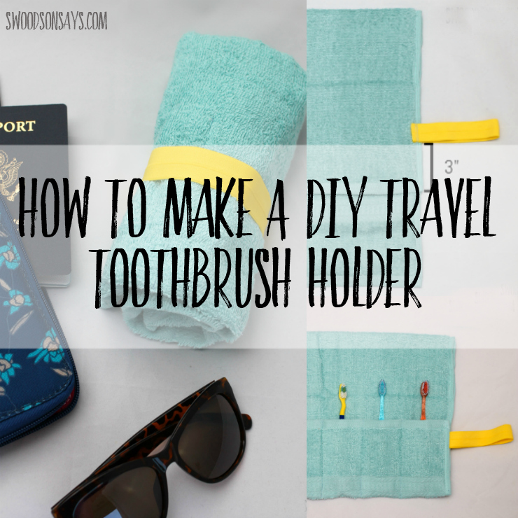 See how to make a diy travel toothbrush holder from a hand towel! Upcycle an old towel and keep your clothes dry when you're on the go. Great gift to sew for someone who loves to travel - and takes 30 minutes or less. Sponsored post with Tom's of Maine Toothbrush. #ad