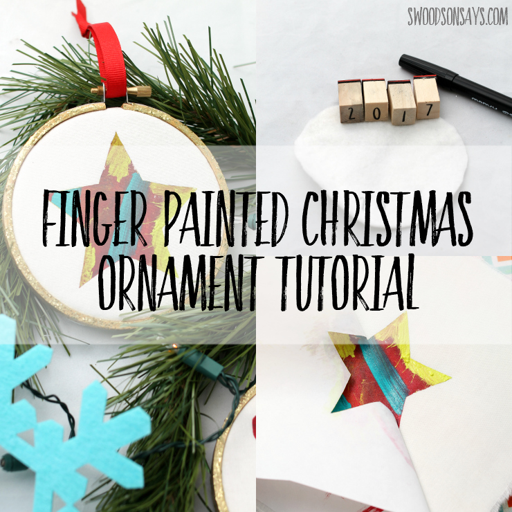 Check out this easy tutorial for a Christmas ornament that kids can make! Babies up through big kids can help paint a festive shape, which hangs from a simple embroidery hoop. Christmas craft and diy Christmas gift all in one! #kidmadeornament #diychristmasornament