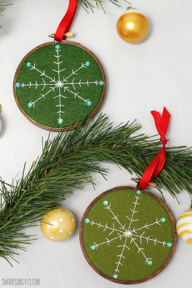 Free diy embroidered snowflake ornament pattern swoodson says i tried out two different color felts and kept the brighter green ornament for myself i can see a whole garland of these in bright colors draped over a solutioingenieria Choice Image