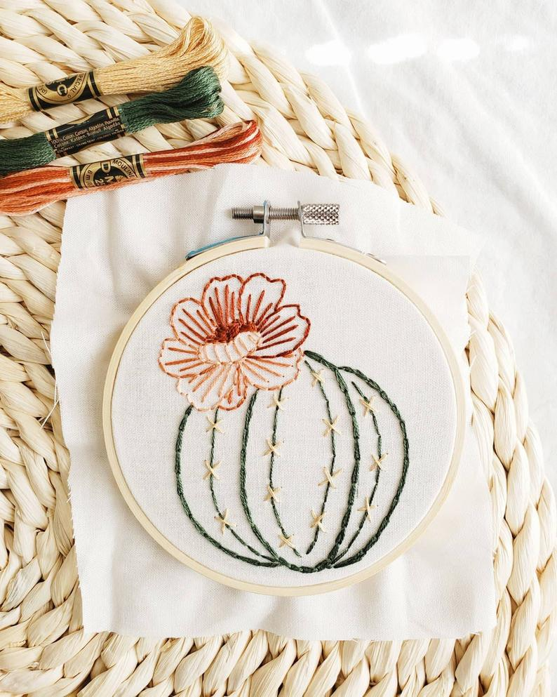 cactus embroidery kit bloom