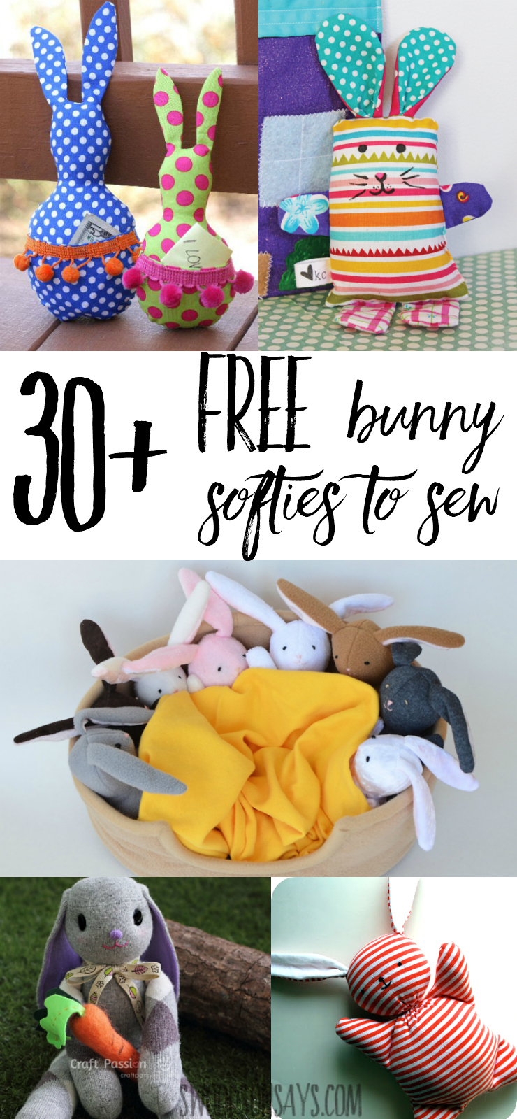 Check out over 30 free bunny softie sewing patterns. These are rabbit sewing tutorials and rabbit sewing patterns, all easy to make and perfect for handmade Easter basket ideas.