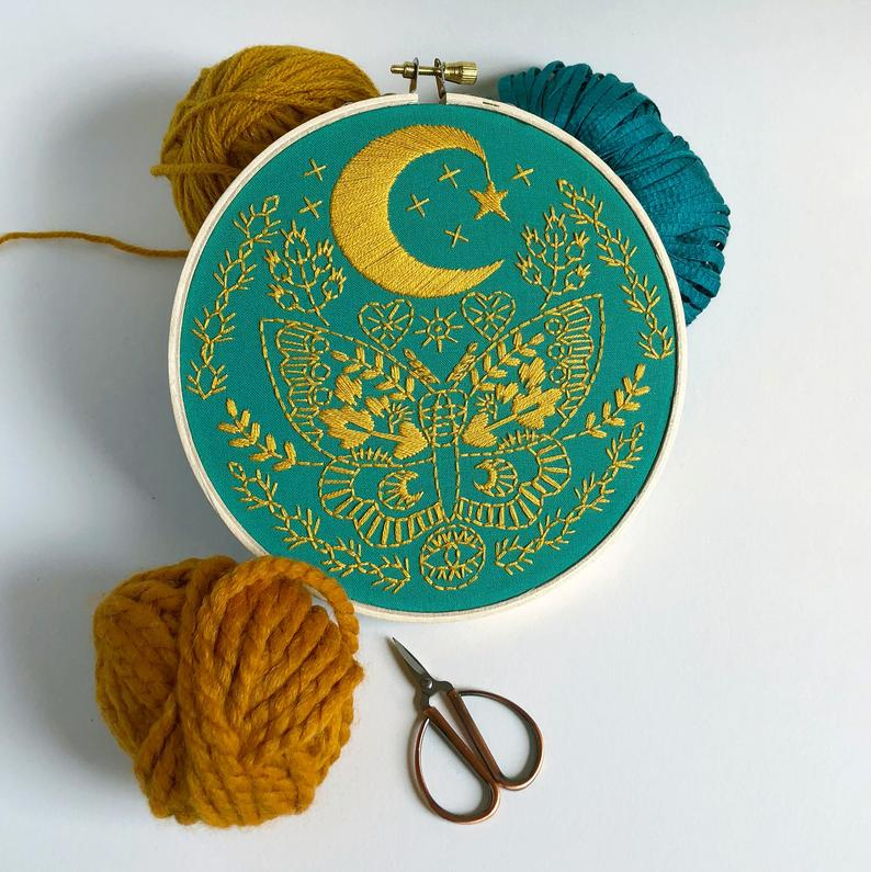 moth embroidery kit