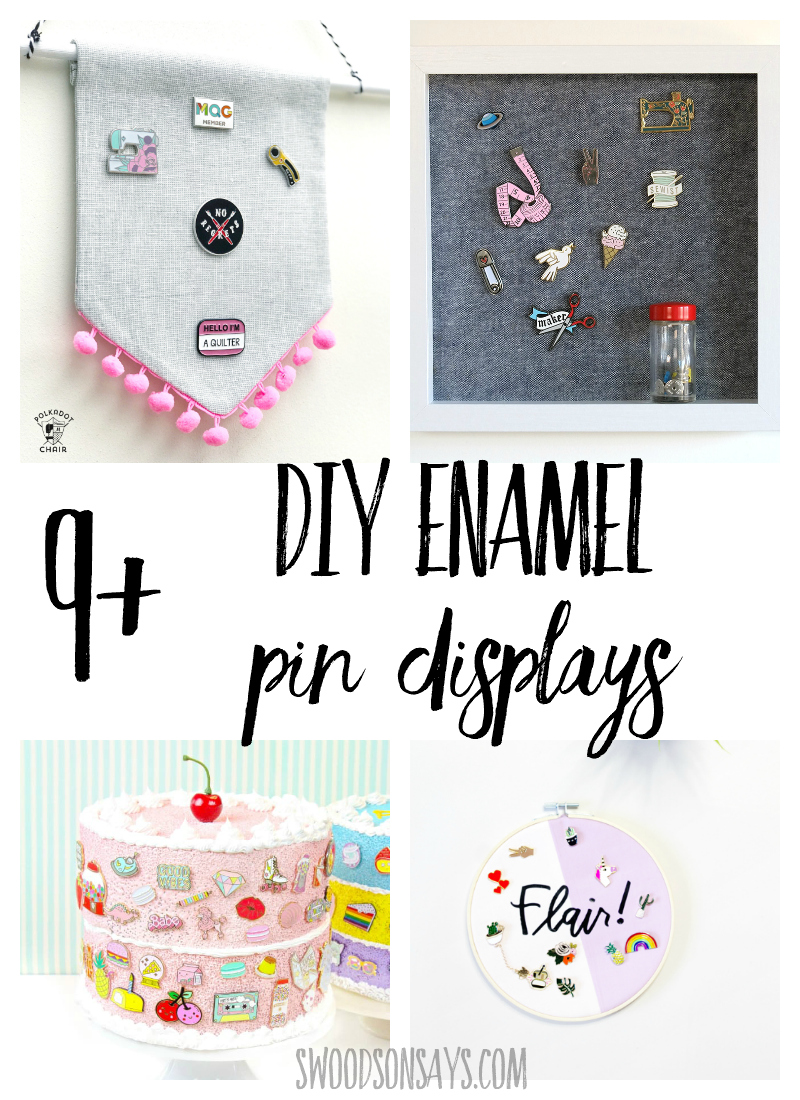 Check out this list of diy enamel pin displays! Several tutorials and inspiration for how to make a lapel pin display, perfect for showing off your flair. #enamelpin #crafts #diy #lapelpin #sewing