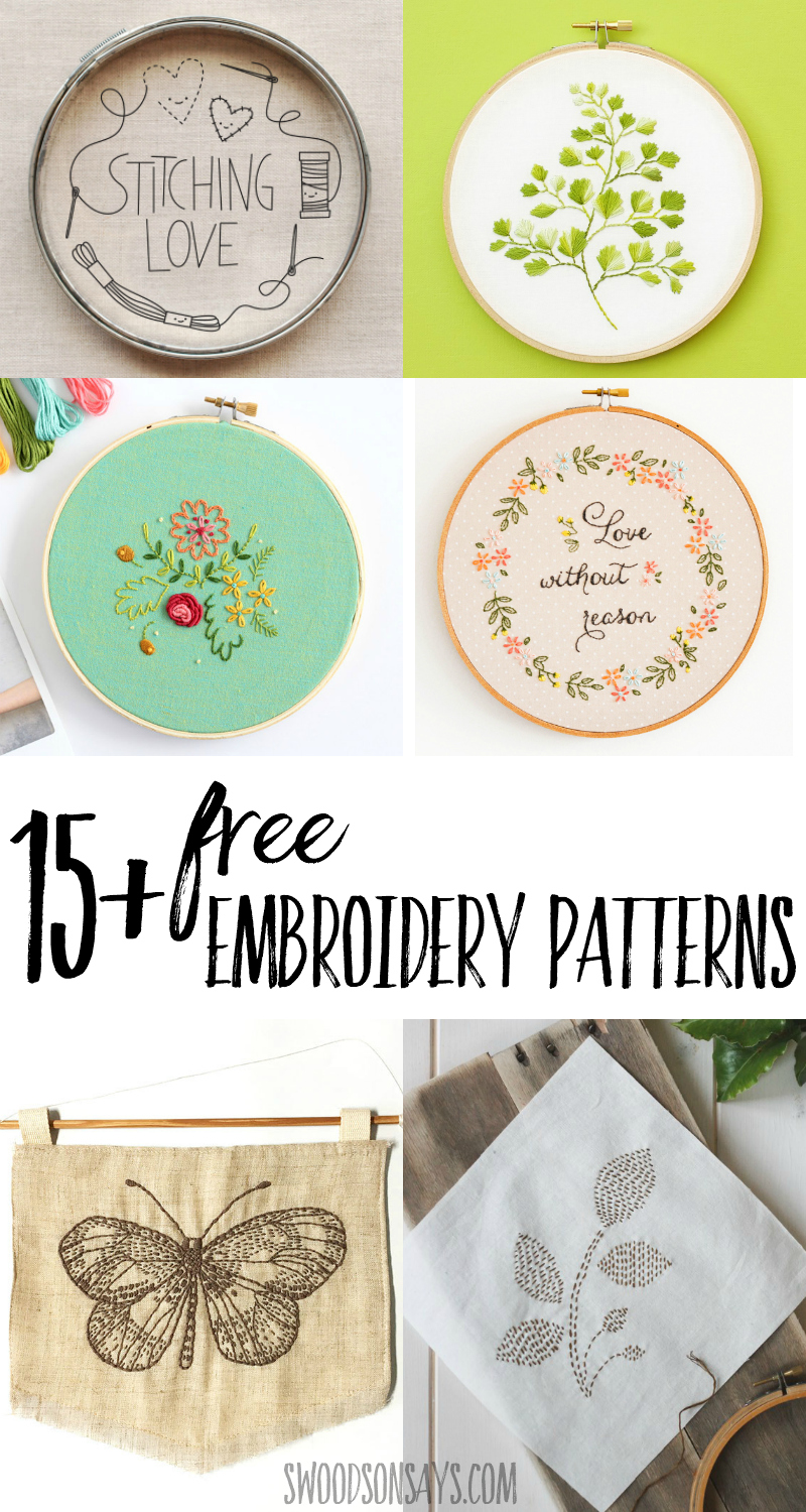 Looking for a free embroidery pattern to try hand stitching? I have rounded up over 15 free embroidery patterns with all kinds of fun motifs. Hand sewing is so relaxing! #embroidery #needlework