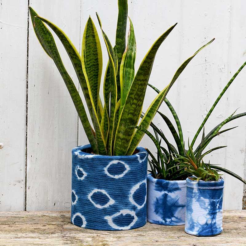 indigo shibori planter