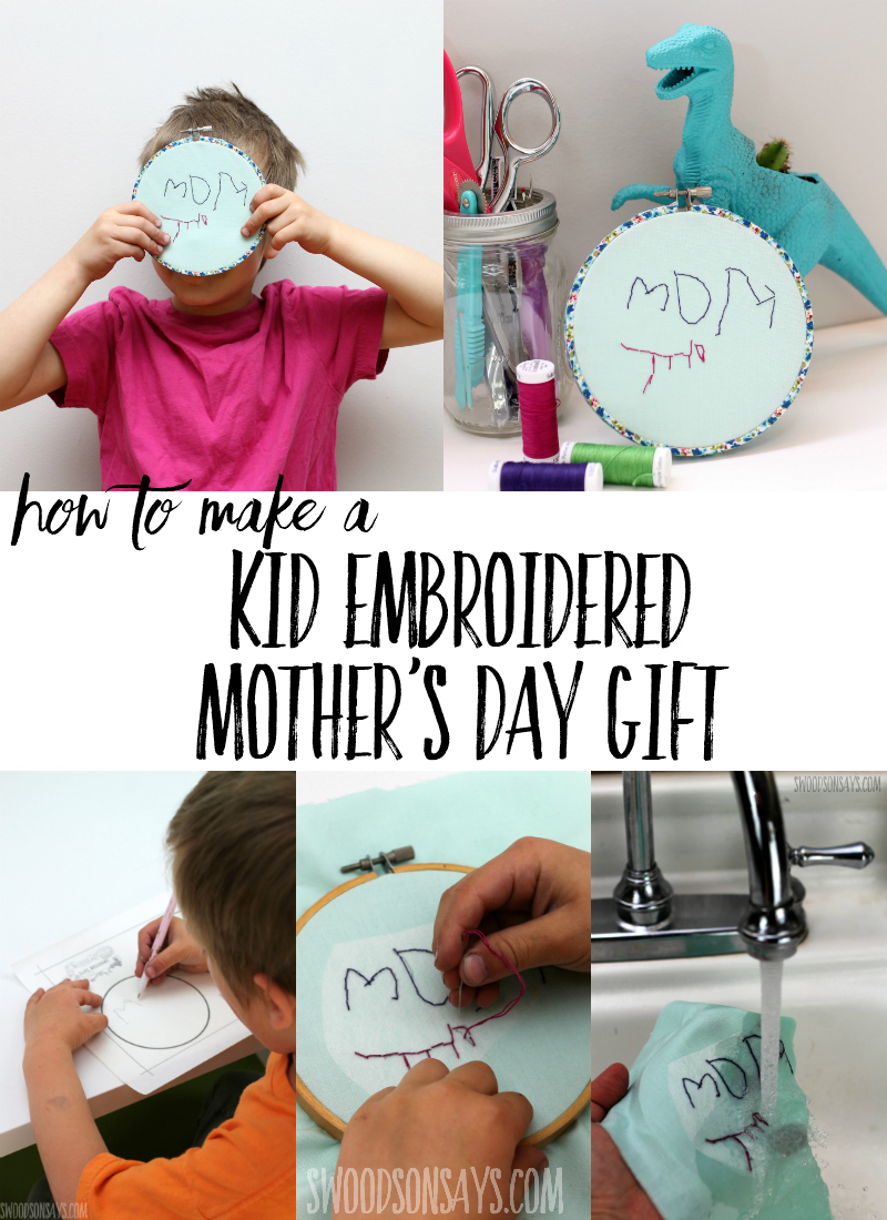 See the ONE trick that makes it super easy to turn your child's handwritten message into a hand embroidery project for kids! This is a perfect Mother's Day gift that kids can make, you'll treasure the time and effort kids put into this sweet handmade gift. Sponsored post by Sulky, download the free hand embroidery template and follow step by step instructions for a kid's hand embroidery design. #handembroidery #embroidery #mothersday #kidscrafts #crafts