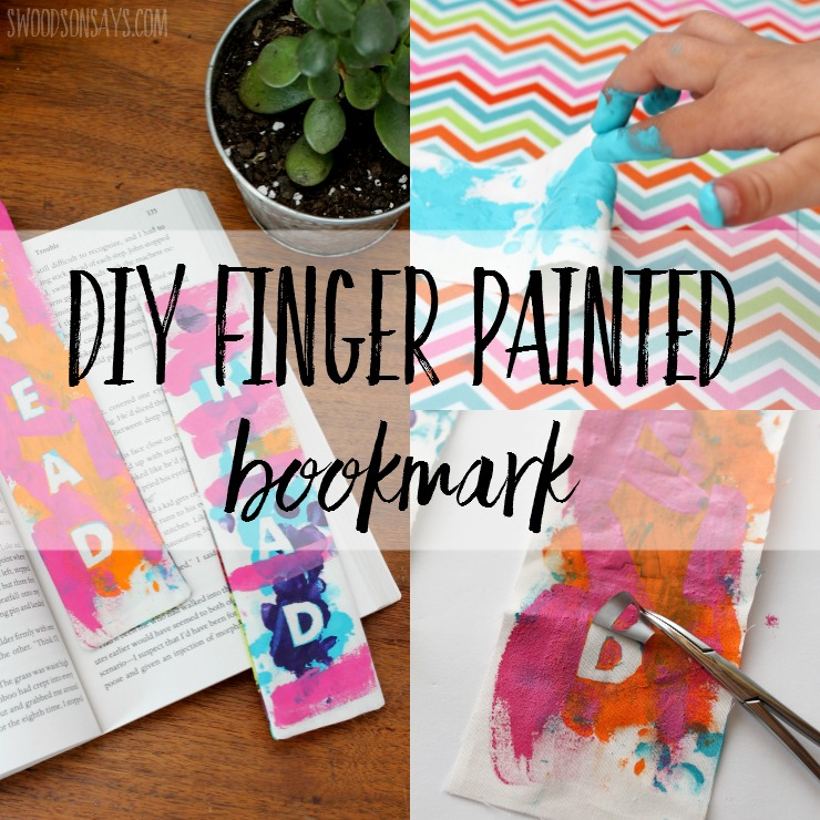 Looking for a gift to make with kids that will actually be used? This finger painted bookmark tutorial is a simple sewing project for beginners, but is fun to paint, too!
