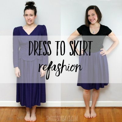 DIY dress refashion to a skirt