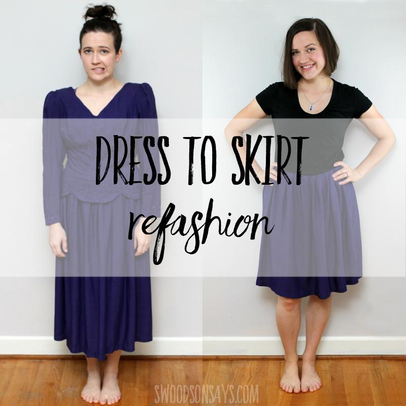 DIY dress refashion to a skirt