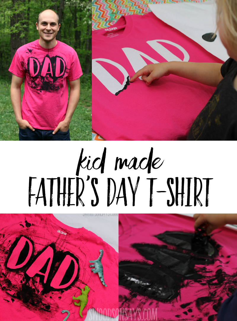This is a super fun Homemade T-Shirt Idea for Dad - super simple way to finger paint over a fun design. Perfect Father's Day gift that kids can make and Dad will be proud to wear. This is such an easy Father's Day craft that even a toddler can make it! The material you use for the reverse stencil is something out of your kitchen drawers, click through and see what it is! #fathersday #kidscrafts #handmadegift #homemadetshirt