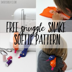Snuggle Snake softie that kids can sew