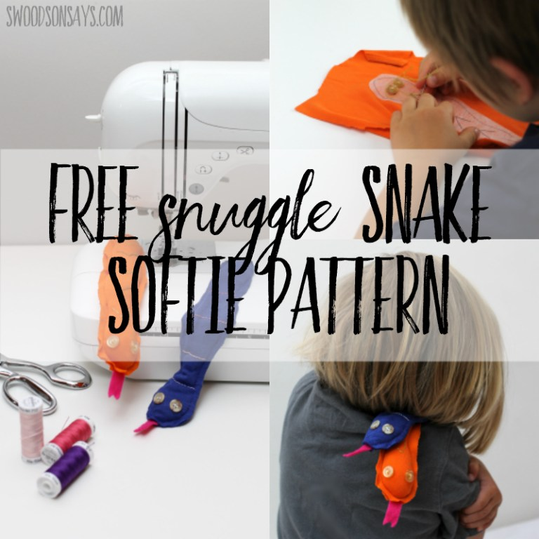 Sewing tutorial: Softie snake that kids can sew, with free pattern