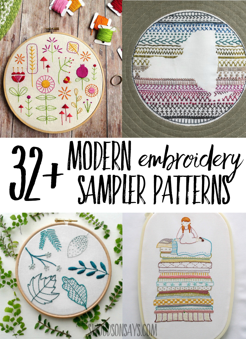 32 Hand Embroidery Sampler Patterns Swoodson Says