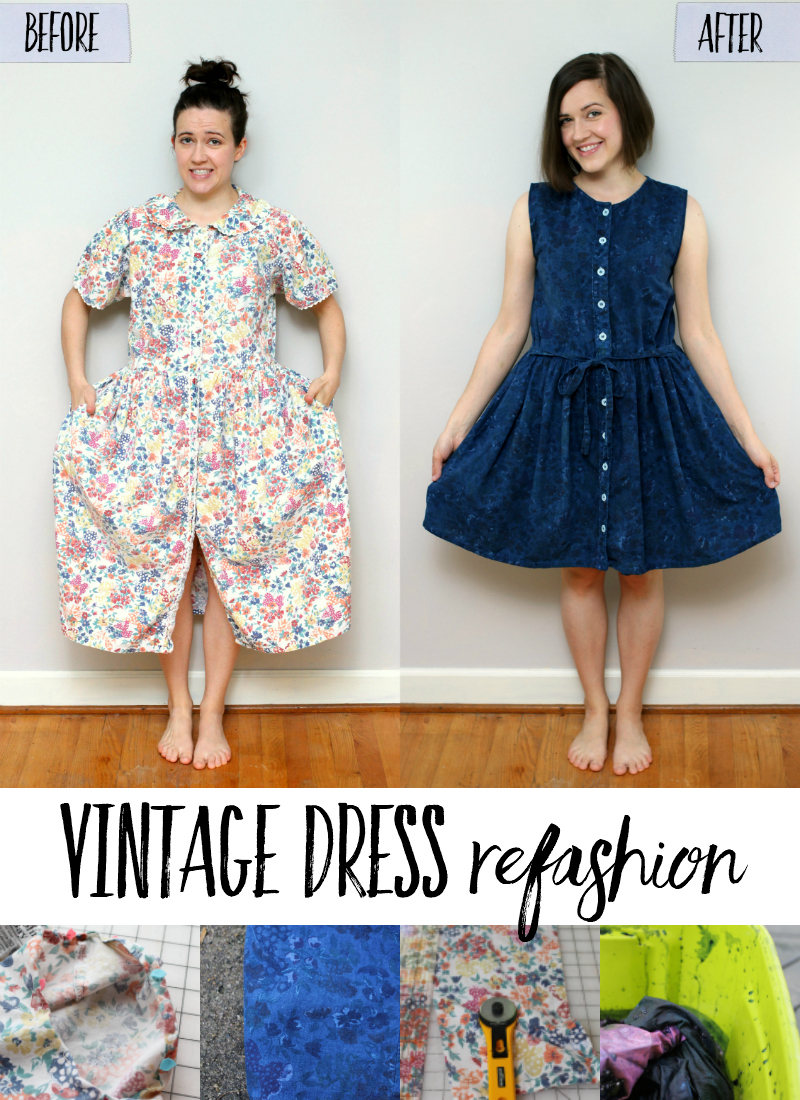 Check out this simple vintage dress refashion tutorial! Take a dated, frumpy dress and make it modern with simple stitches and some dye. Click through to read more. #refashion #sewing #thrifting #fashion