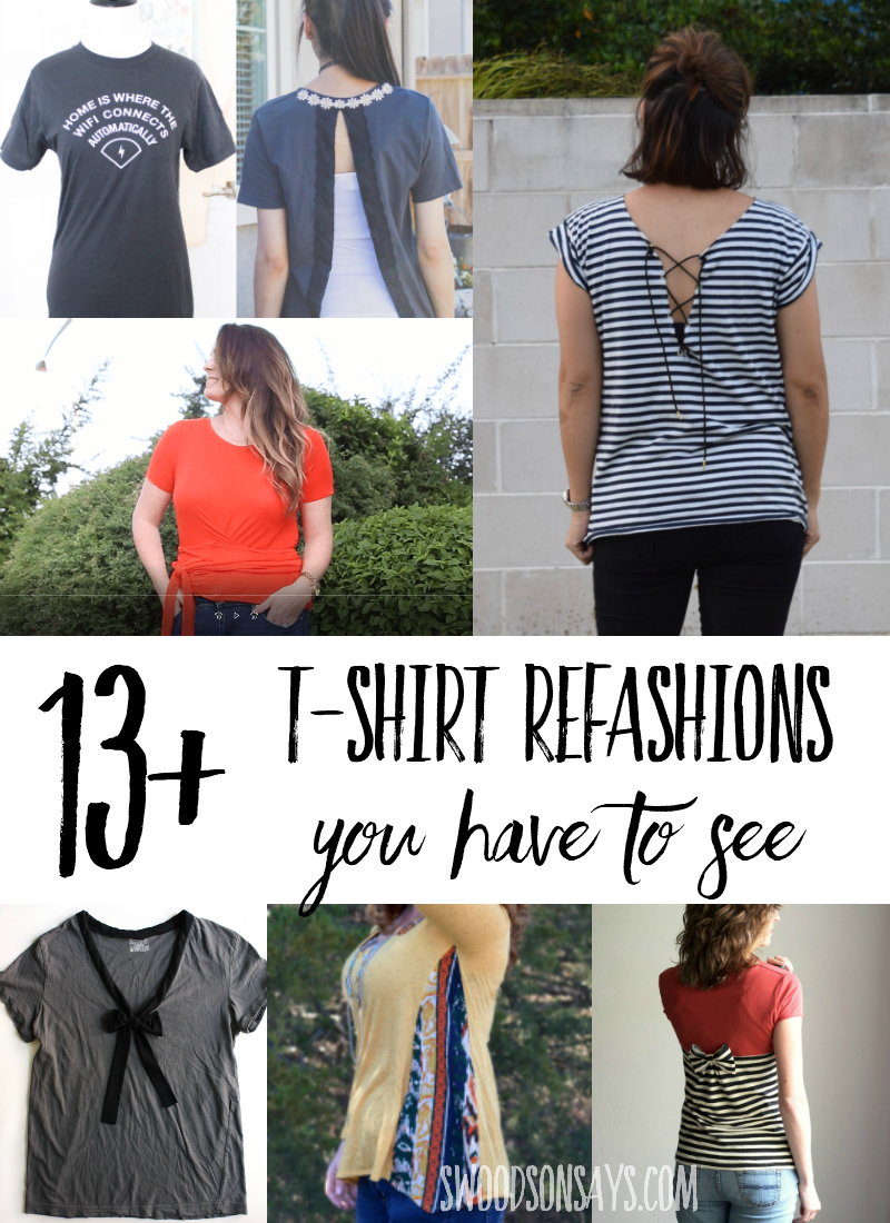 Check out over 13 t-shirt refashion ideas that are perfect for summer - super fun tutorials for updating your old shirts into fresh new tee shirt makeovers. Don't throw it out, update it with all of this #refashion inspiration! #sewing #upcycle #thrifting