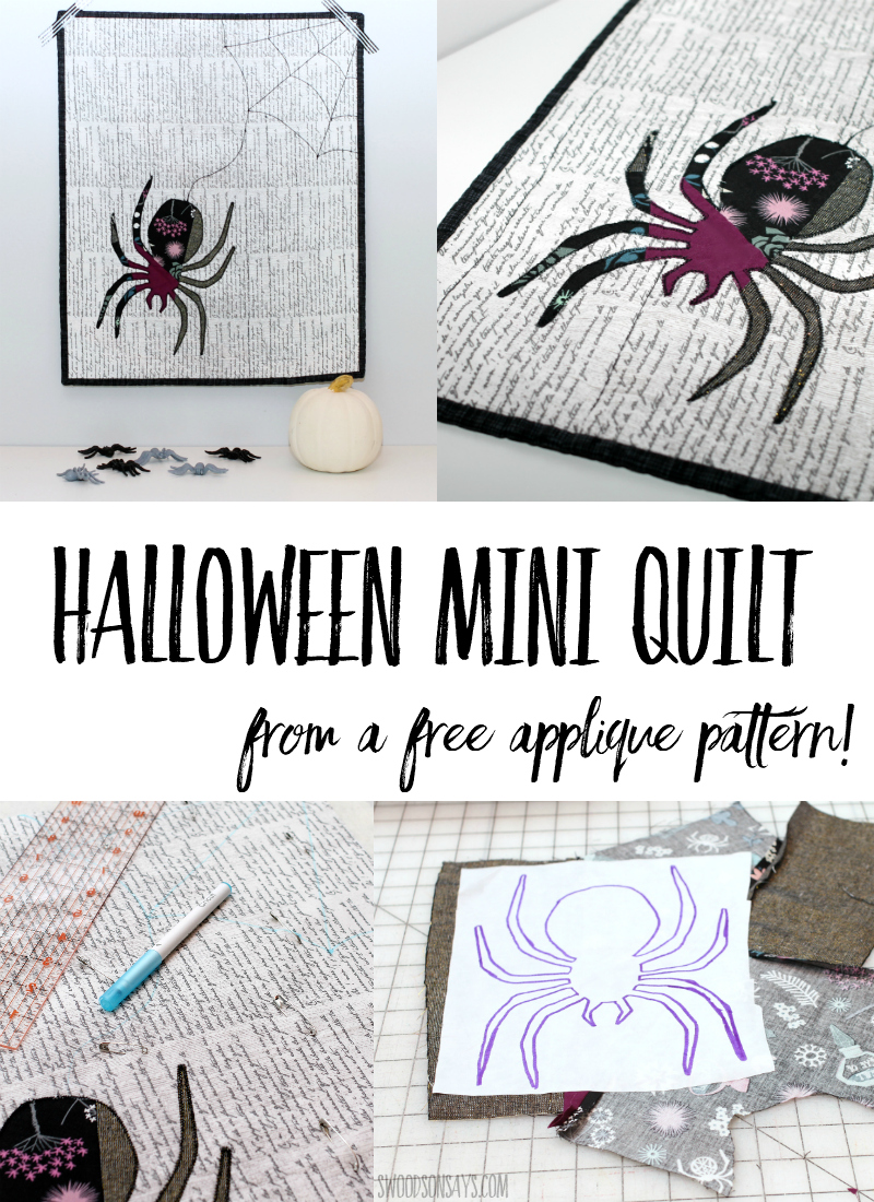 Sew up some modern DIY Halloween decor with this fun mini quilt tutorial! A scrappy applique spider from the free Seasoned Homemaker's pattern is easy to make. This Halloween quilt pattern idea is easy for beginners and fun to sew! #halloween #quilt #applique #sewing