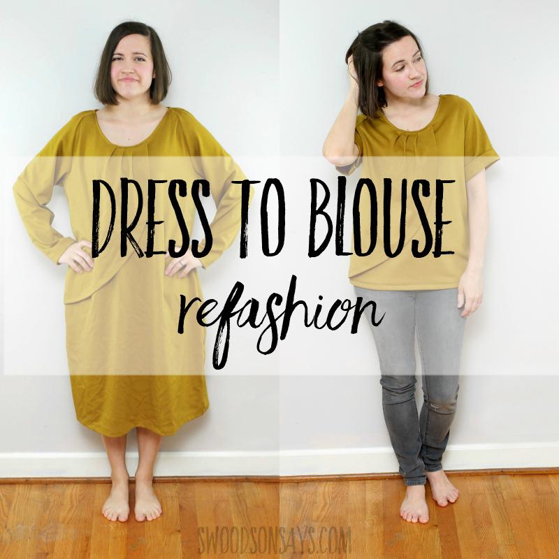 Dress to blouse refashion tutorial