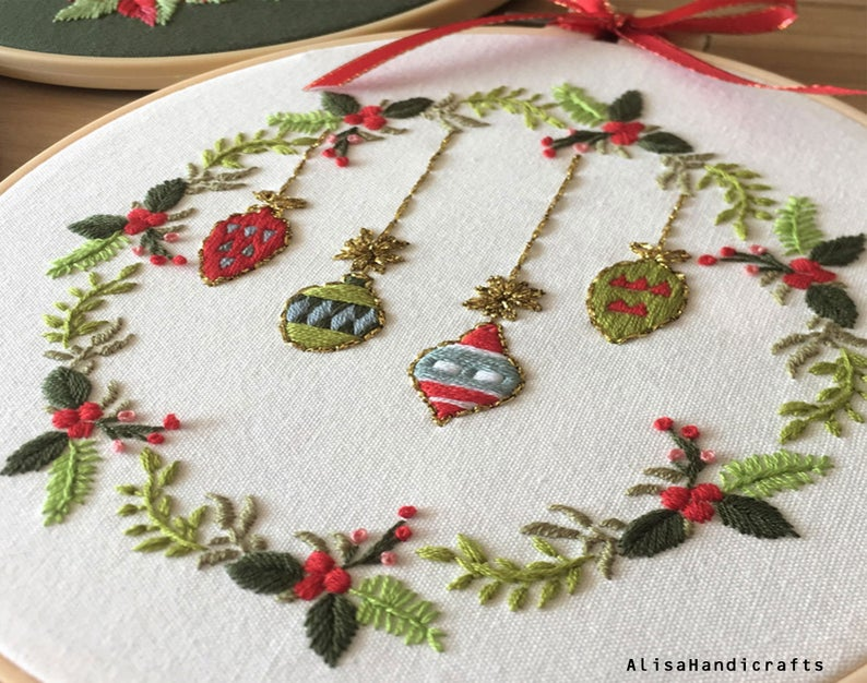 christmas embroidery kit ornament metallic