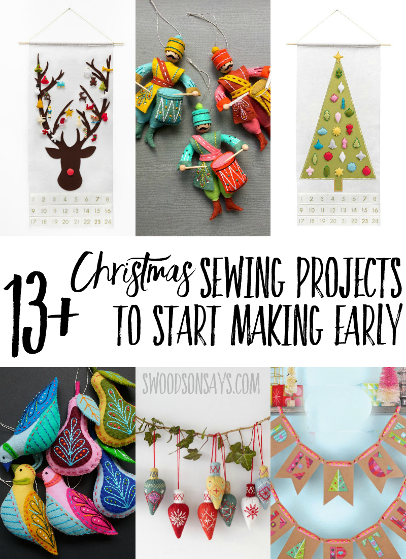 Get ready early this year! A round-up of more complicated Christmas sewing projects that you should start sewing now, to enjoy and display once the holiday season has arrived. Christmas quilt patterns, Christmas cross stitch design, Christmas decor DIYs, all with a modern twist. #sewing #Christmas #CHristmasinjuly