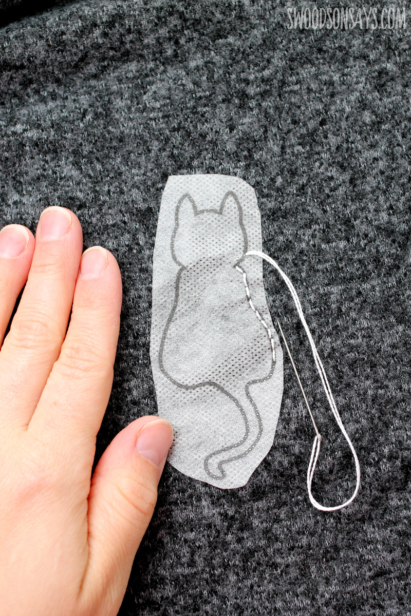 Easy way to transfer hand embroidery patterns showing how to embroider on a tshirt.