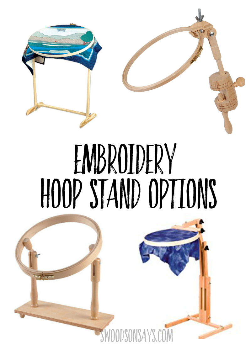 Free up both hands with a genius embroidery hoop stand! This curated list has several different styles that allow you to sit at a table, stand, or sit in a chair while embroidery. #embroidery #handembroidery #crossstitch #needlework