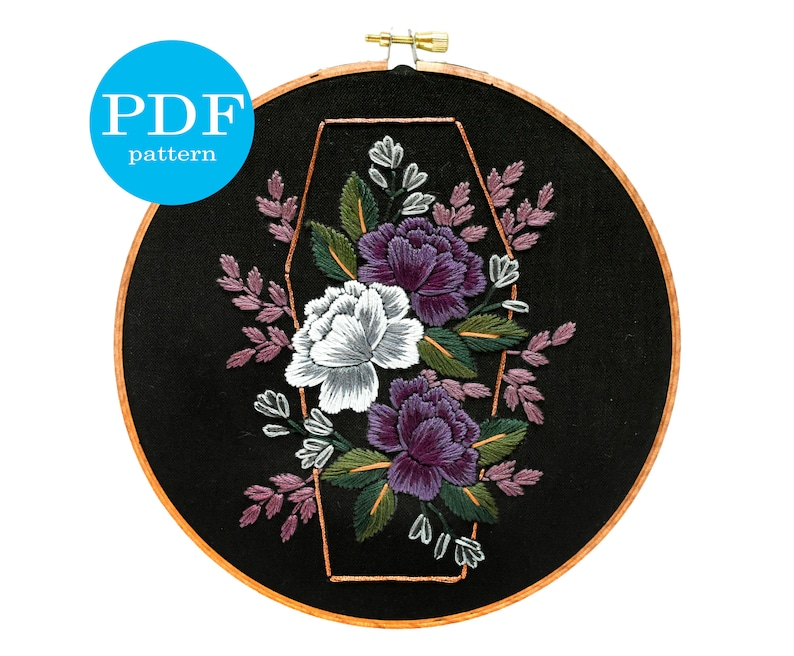 halloween floral coffin embroidery pattern