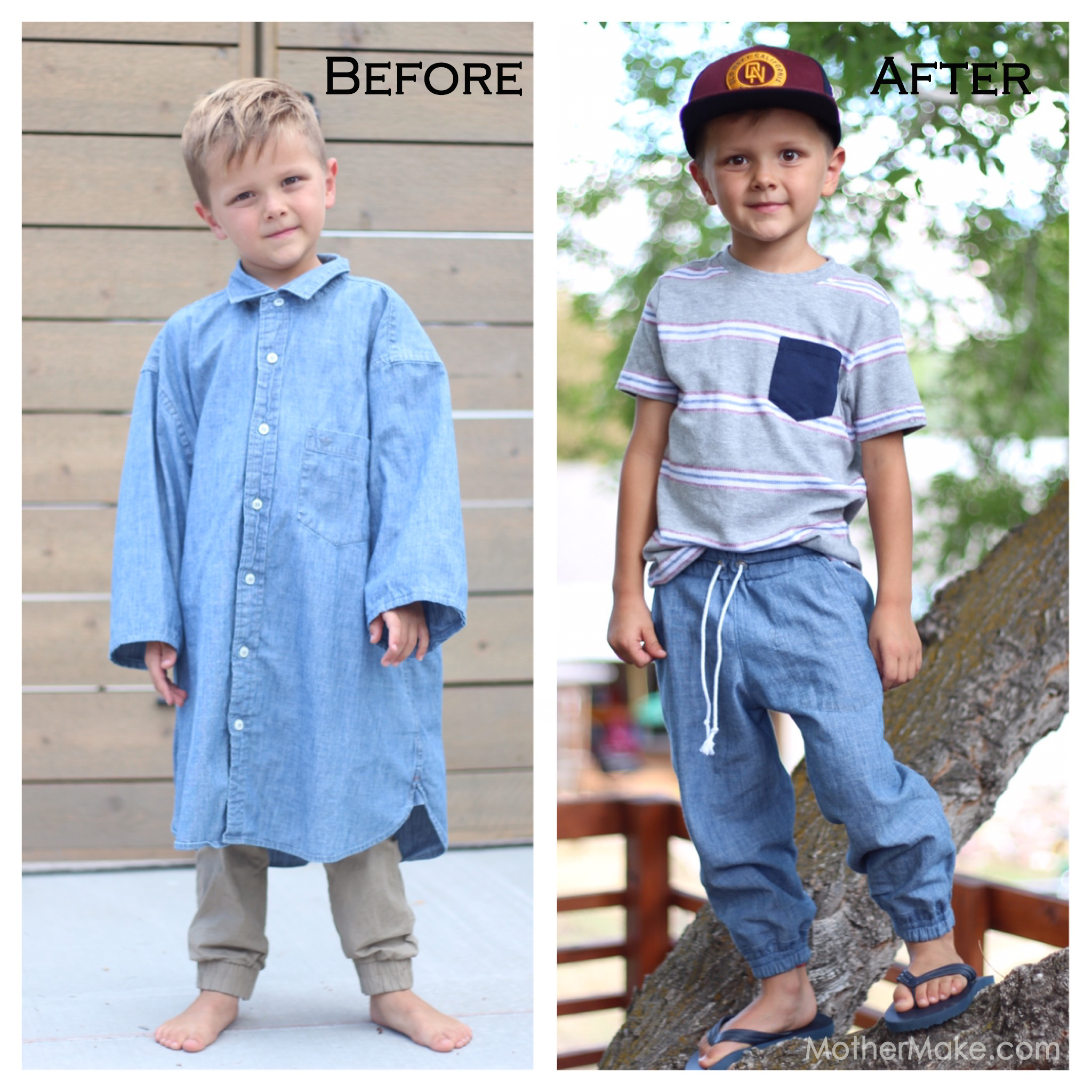 7fe6a299e Men's dress shirt refashion to boys joggers at Mother Make – these are so  comfy, my kids would both wear them for sure!