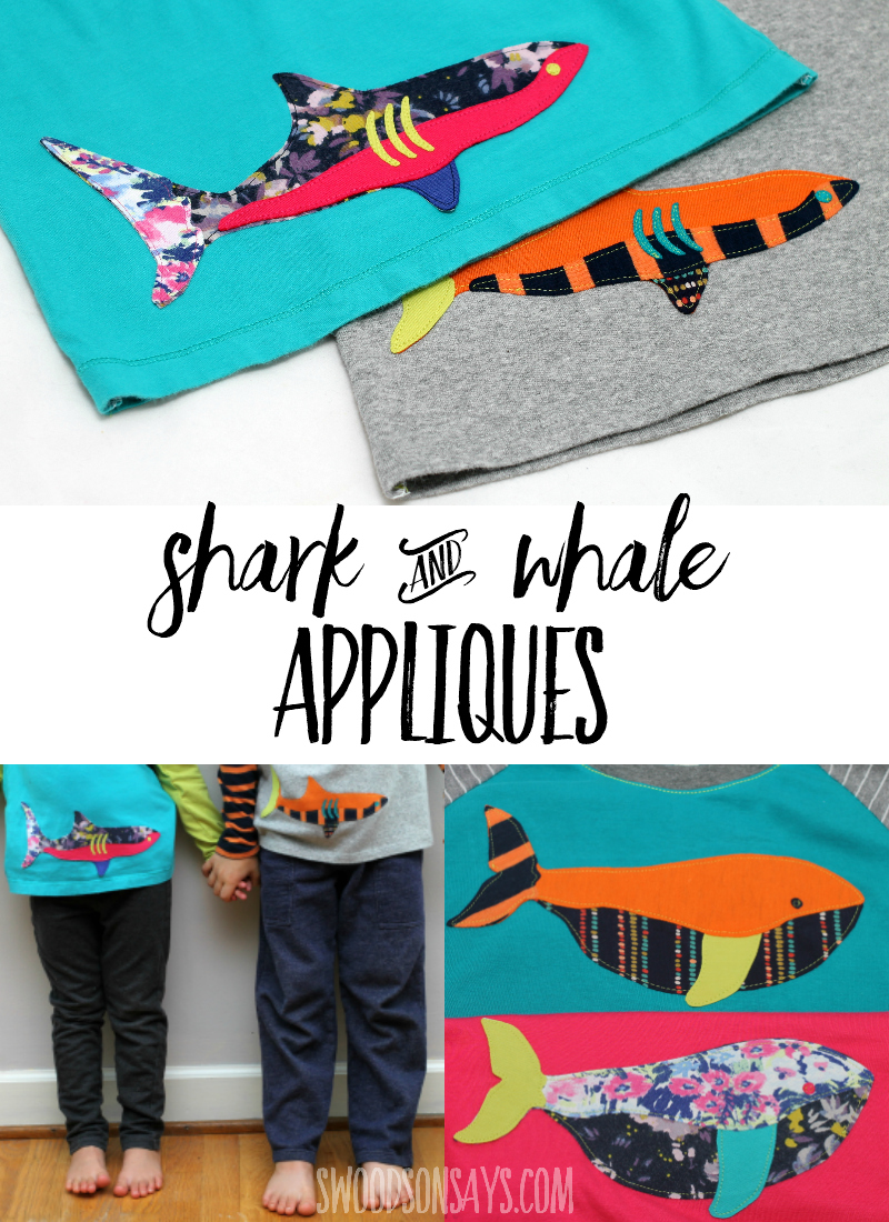 Use up your tiniest scraps or old t-shirts and sew some scrappy appliques! This is a shark & whale applique pattern that is easy to sew, with a full photograph tutorial. This is a fun fabric scrap buster project and way to embellish a shirt for kids. Great on bags, pillows, or blankets too! #sewing #applique #sewingforkids