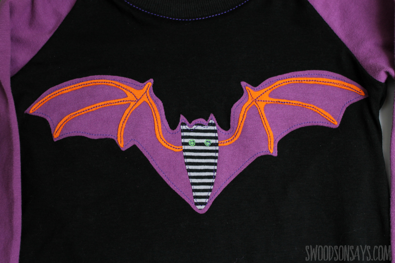 large scrappy bat applique