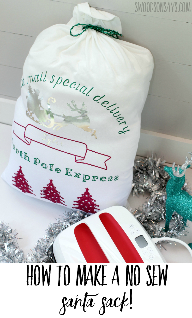 Big iron-on projects don't have to take forever; check out how to make a DIY, no sew Santa sack with the new Easy Press 2 from Cricut! This is a fun way to wrap presents without all the waste, fill it up and reuse it each year. Free Design Space file linked to make your own, in the sponsored post. #CricutMade #Cricut #ad #cricut #christmas #santasack #diy #crafts