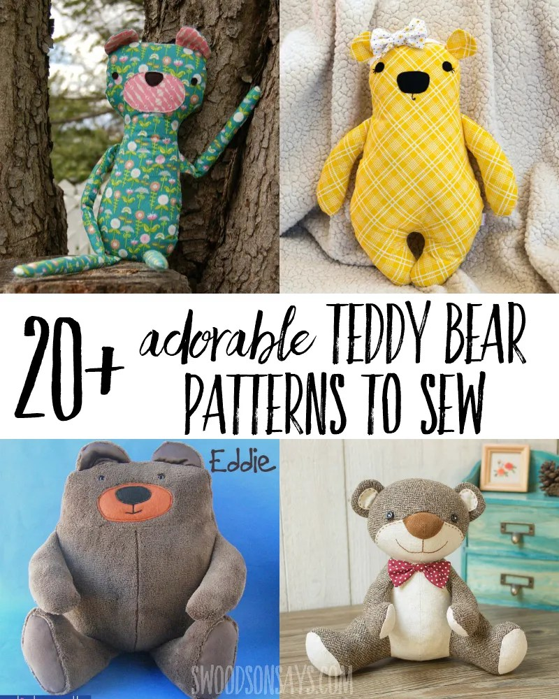 The most adorable teddy bear sewing patterns. Super sweet stuffed animal bears to sew and snuggle - including memory bear sewing patterns and free bear stuffie sewing patterns. #sewing