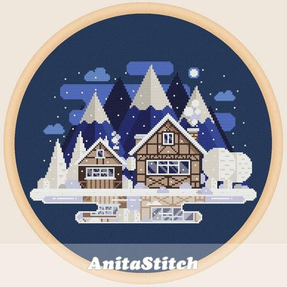 chalet winter cross stitch pattern