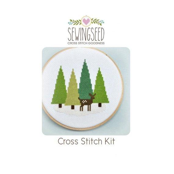 fawn pine tree winter cross stitch pattern