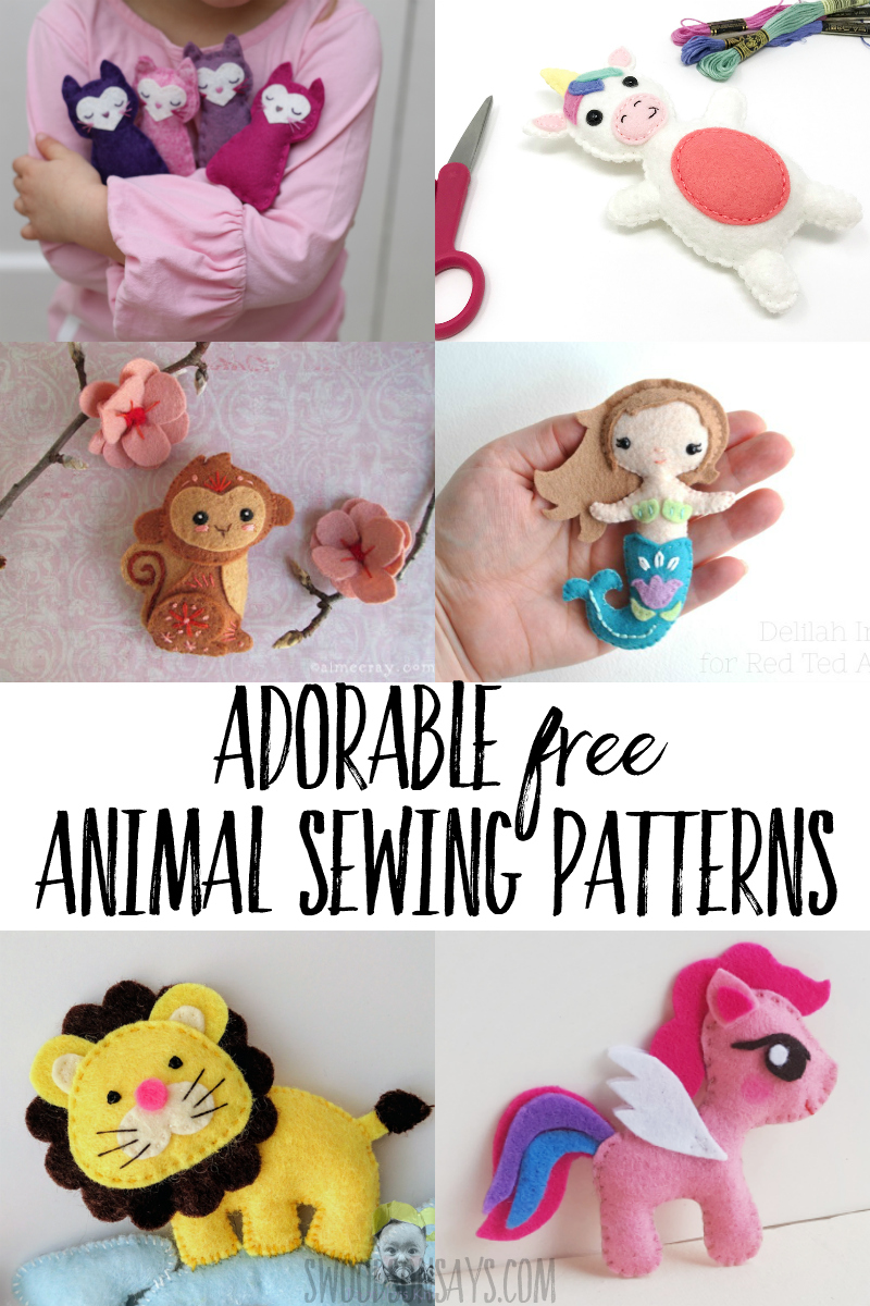 Fun list of free animal sewing patterns! Download these adorable felt projects to sew and make the cutest felt animals. #sewing #crafts #handembroidery