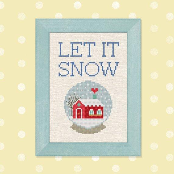 let it snow cross stitch pattern