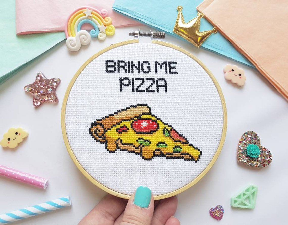 pizza cross stitch kit