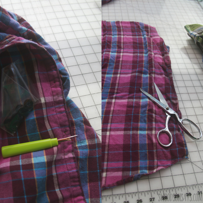 step 1 upcycling flannel