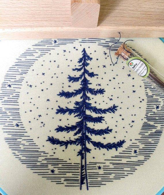 winter pine tree hand embroidery pattern kit