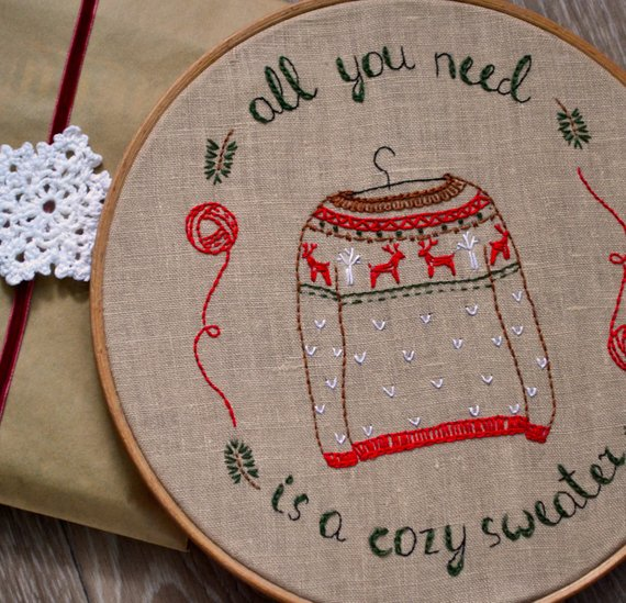 winter sweater hand embroidery pattern
