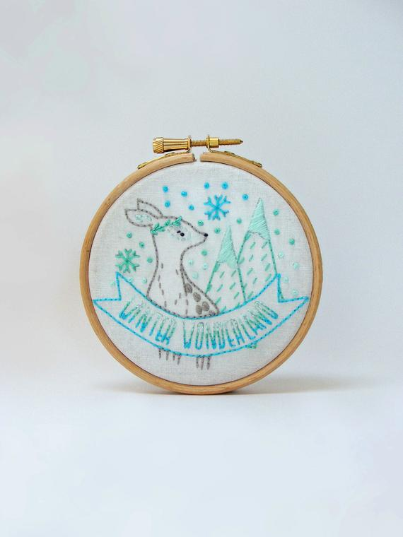winter wonderland hand embroidery pattern