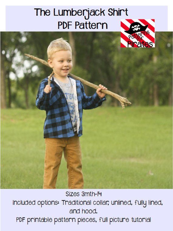 boys flannel shirt sewing pattern