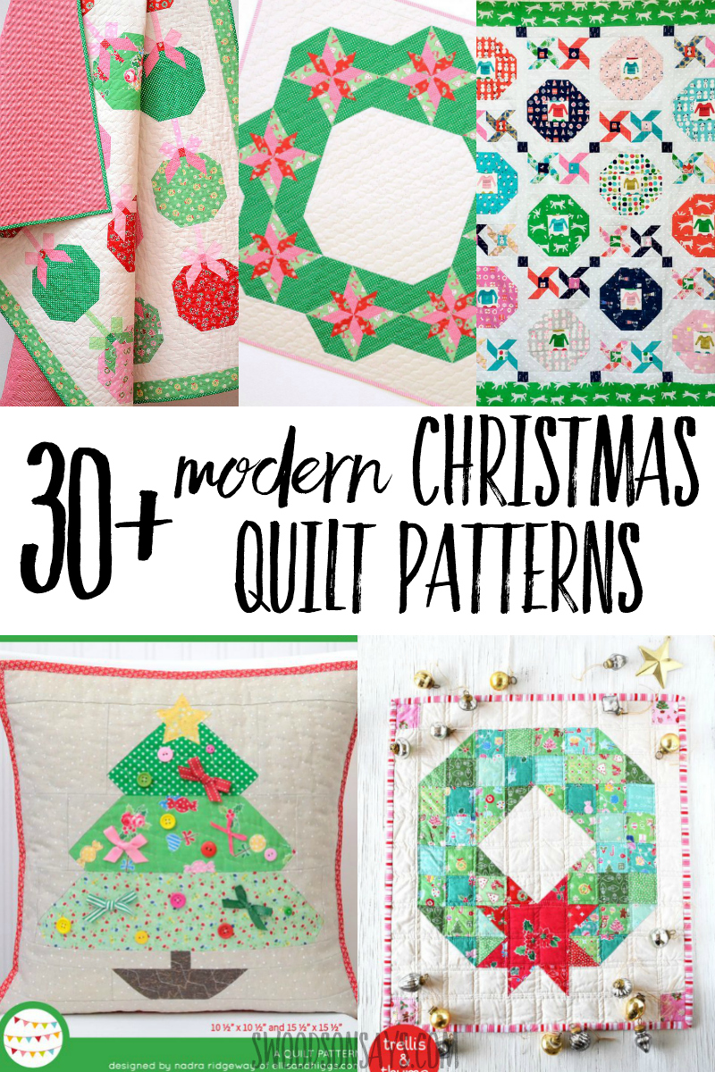 Get fresh Christmas quilt ideas with this curated list of modern Christmas quilt patterns! So many cute Christmas patchwork projects to choose from, get ready to sew! #christmas #sewing #quilting