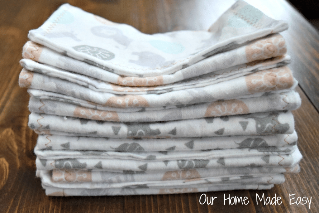 flannel burp cloths or rags