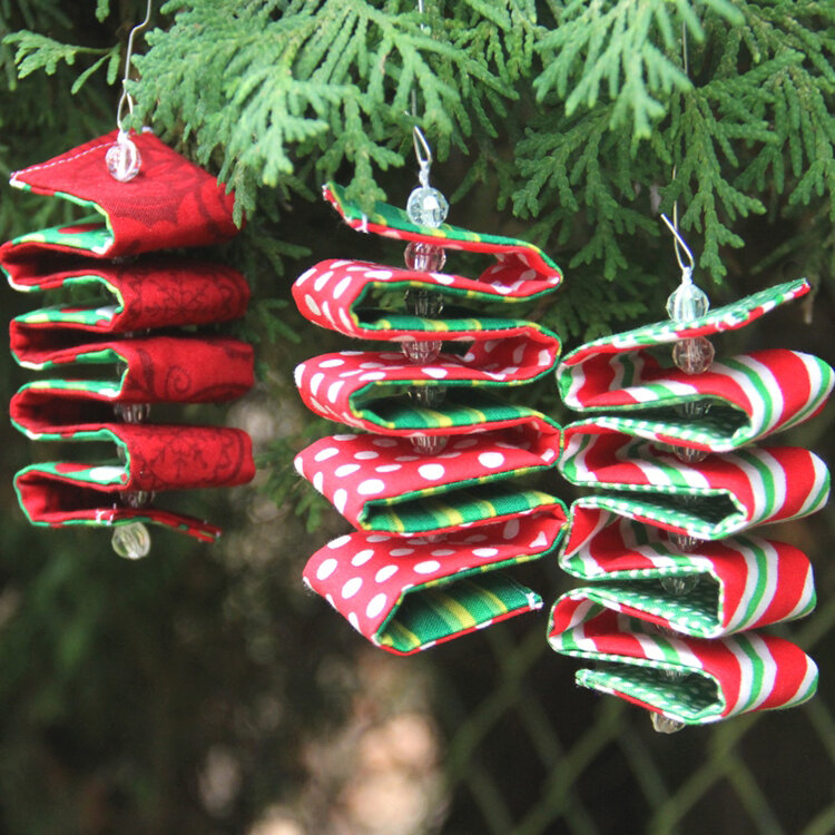 folded ribbon candy ornament made from fabric