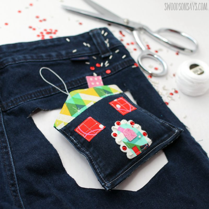 upcycled old jean christmas craft