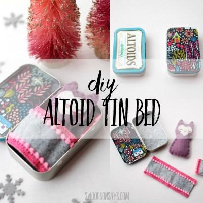 DIY Altoid tin stuffed animal bed