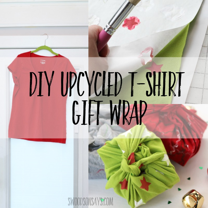 diy upcycled tshirt wrapping paper