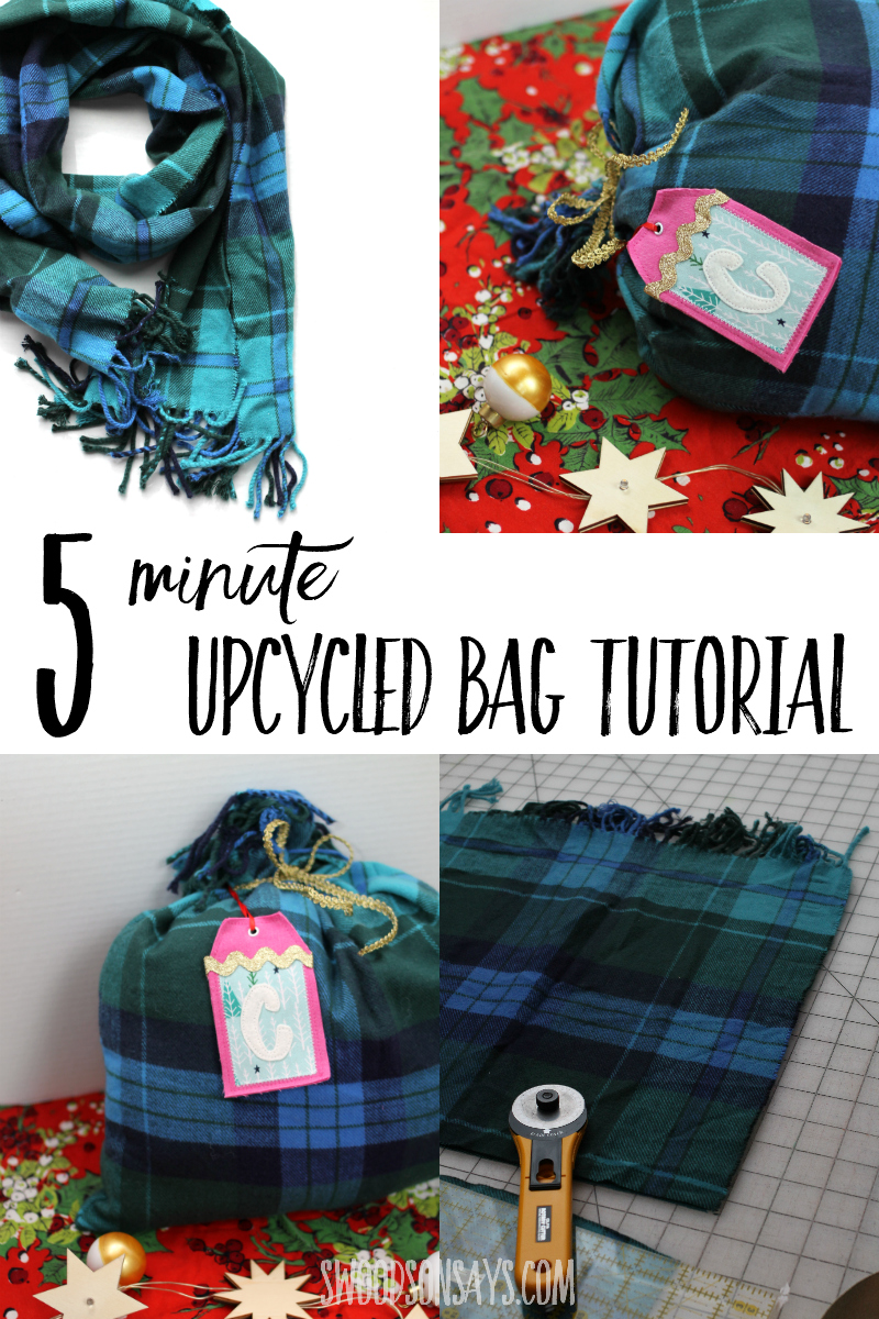 Sew this upcycled gift bag in 5 minutes with an old scarf and some ribbon! Great sewing project for beginners with a photo tutorial or simple inspiration for experienced sewists. #sewing #upcycle #christmas